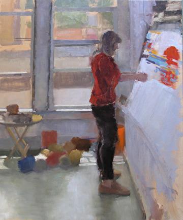 "Sarah Weaving by Robert Paulmenn Oil ~ 36"" x 30"""