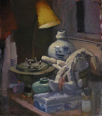 """Top Shelf by Robert Paulmenn Oil ~ 18"""" x 16"""""""