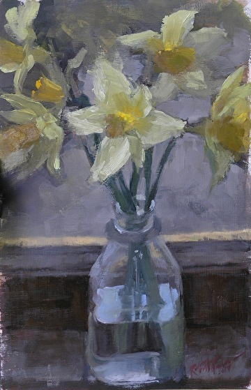 "Last Daffodils by Robert Paulmenn Oil ~ 12"" x 8"""