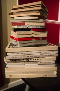 Open-reel tapes of Sacred Harp singings in the collection of the Sacred Harp Museum. Photograph by Joy Graves.