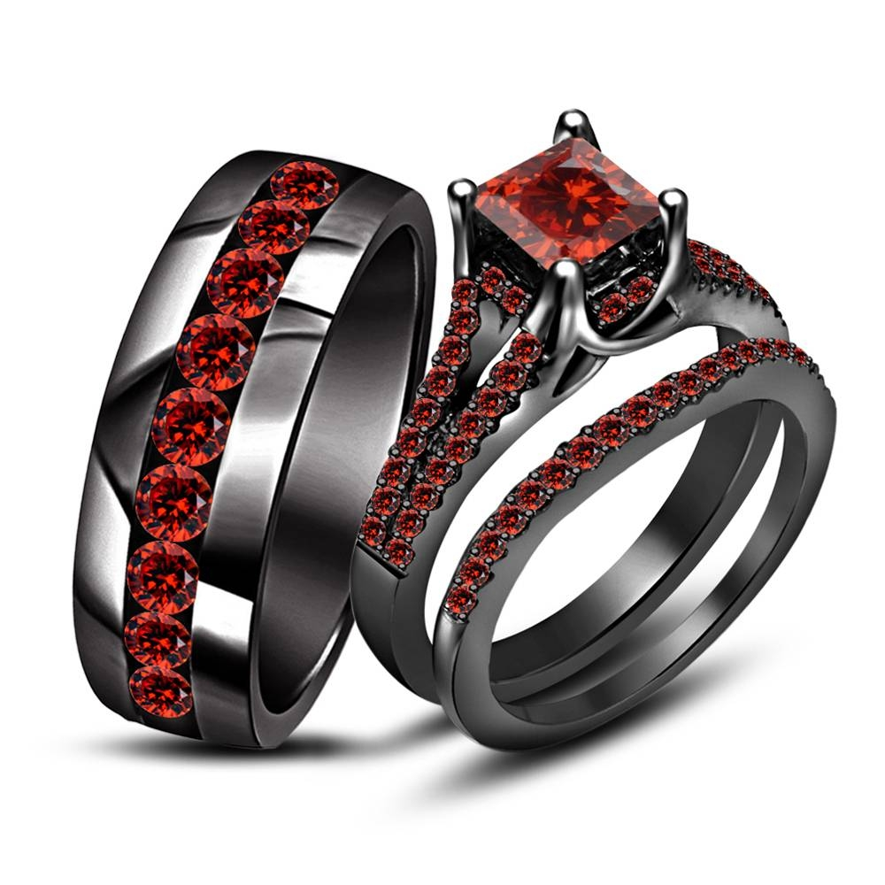 15 Photo Of Black And Red Wedding Bands