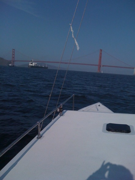 Approaching the Golden Gate bridge (note the container ship)