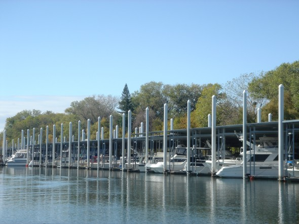Note the 30-ft floating docks - got to be quite unnerving to visit your boat and see it floating that high up the pole.