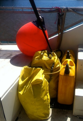3 bags containing sea anchor components