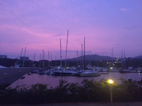 The pink sky the night before the hurricane.  No touch up. No photo editing. This is an exact rendition.