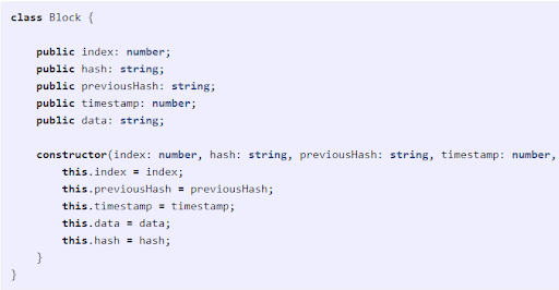 General code for the block structure appears like the following