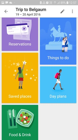 Google Trips, Reservations, things to do. day plans, saved places, food and drink
