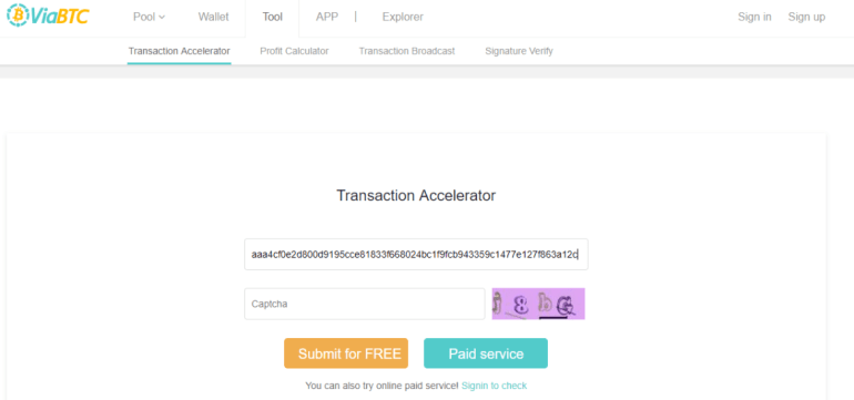 Accelerate bitcoin transaction free