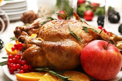Roast Chicken with Sausage and Apple Stuffing