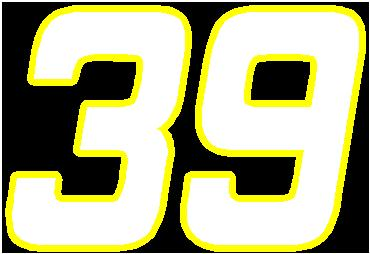 NASCAR Decals :: 39 Race Number 2 Color Hemihead Font Decal / Sticker