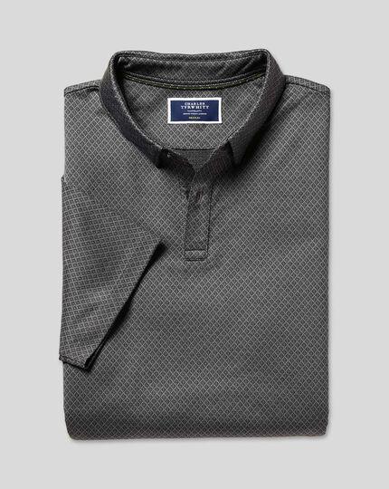 Diamond Jacquard Cotton Polo - Charcoal