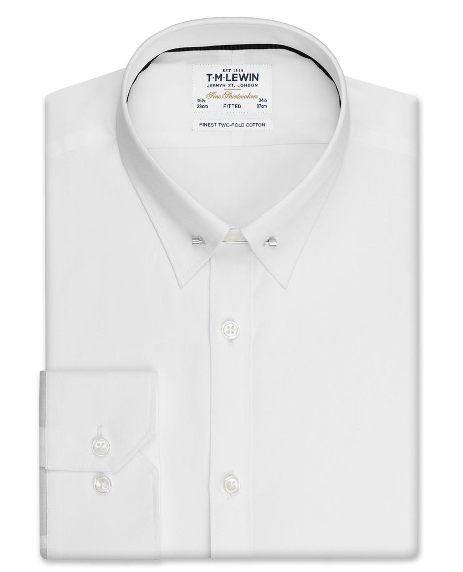 Fitted White Pin Collar Poplin – Dual Cuff