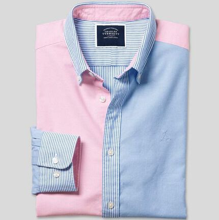 Button-Down Collar Washed Oxford Patchwork Shirt - Multi