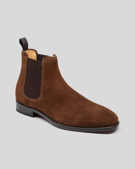 Goodyear Welted Suede Chelsea Boots - Brown