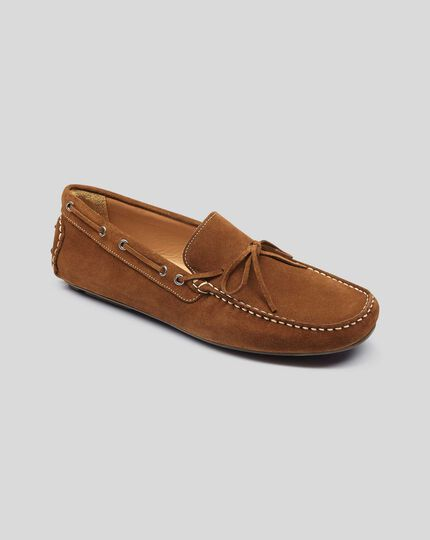 Suede Driving Loafers - Brown