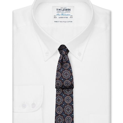 Super Fitted White Oxford Button Down Shirt