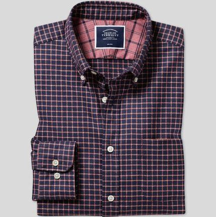 Button-Down Collar Non-Iron Twill Windowpane Check Shirt - Navy & Coral