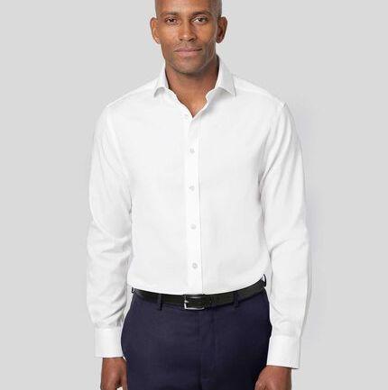 Cutaway Collar Non-Iron Cotton Stretch Shirt - White