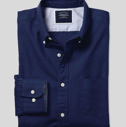 Button-Down Collar Washed Oxford Shirt - Royal Blue