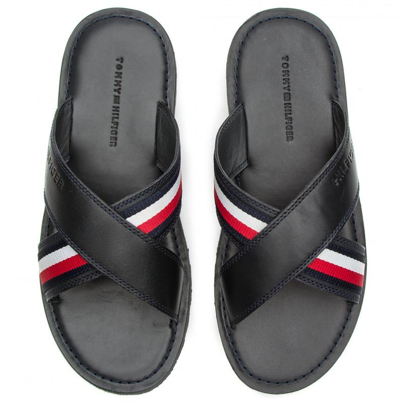 Criss Cross Leather Sliders