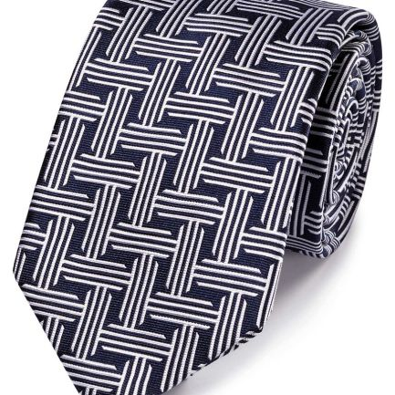 Navy and white silk circle pattern classic tie