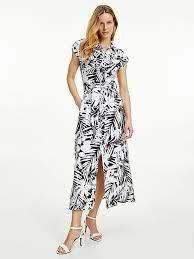 Palm Print Viscose Maxi Shirt Dress