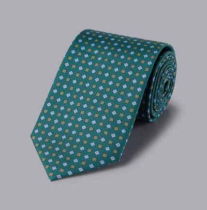 Silk Geometric Print Tie - Green