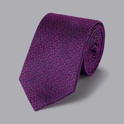 Geometric Cube Tie - Navy & Berry
