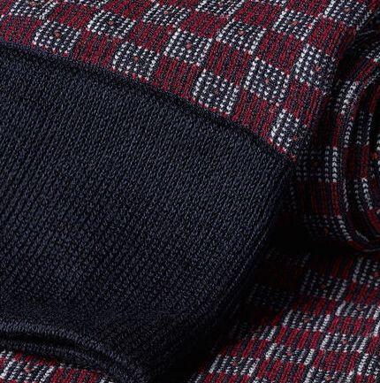 Jacquard Tile Print Socks - Red & Navy