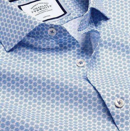 Semi-Cutaway Collar Non-Iron Print Shirt - Blue & White