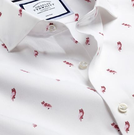 Semi-Cutaway Collar Non-Iron Owl Print Shirt - Pink