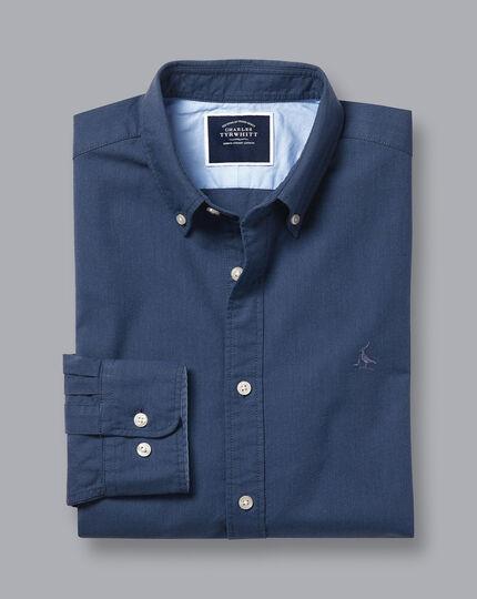 Button-Down Collar Washed Oxford Shirt - Dark Blue Melange