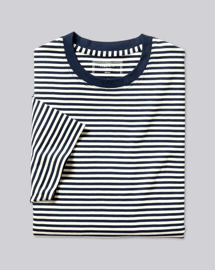 Smart Jersey Stripe Tyrwhitt T-Shirt - Navy & Ecru