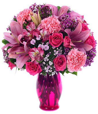Pink Roses and Lilies Flower Bouquet