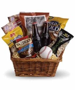 Baseball Themed Gift Basket No Fruit With Rootbeer