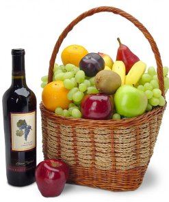 Fruit and Wine Gift Basket Same Day Delivery