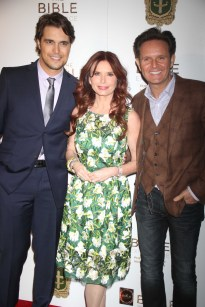 MARK BURNETT AND ROMA DOWNEY,DIOGO MORGADO play Jesus at the opening exhibit '' The Bible Experience'' in celebration of the miniseries ''THE BIBLE'' Photo by John Barrett