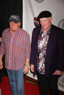 BRUCE JOHNSTON,MIKE LOVE of Beach Boys at the Friars Club honoring Jack Black at NY Hilton 4 5 2013 John Barrett/Globe Photo 2013