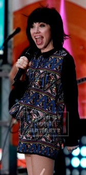 "CARLY RAE JEPSON performs on NBC ""Today'' show at Rockefeller Plaza 8-21-2015 Photos by John Barrett/Globe Photos 2015"