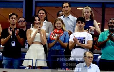 JOE JONES,GIGI HADID,KENDALL JENNER Celebs at US Open Tennis Day 9 at Arthur Ashe Stadium 9-8-2015 John Barrett/Globe Photos 2015