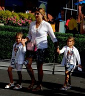 MIRKA VAVRINEC wife of Roger Federer with twins CHARLENE RIVA,MYLA ROSE Celebs at US Open Tennis Day 6 at Arthur Ashe Stadium 9-5-2015 John Barrett/Globe Photos 2015