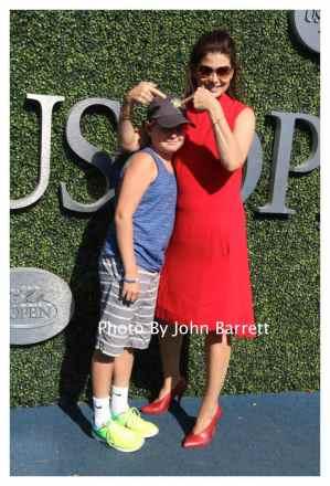 DERBRA MESSING and son ROMAN at Tennis US Open Day 14 at Flushing Meadow Park,Queens 9-11-2016 John Barrett/Globe Photos 2016