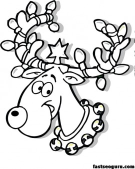 Christmas Reindeer In Lights Coloring Page Free Printable Coloring Pages For Kids