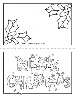 Christmas Card Coloring Pages Merry Christmas And Happy New Year 2018
