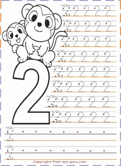 Numbers Tracing Worksheets 2 For Kindergarten Free Printable Coloring Pages For Kids