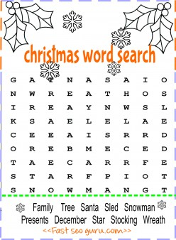 Print Out Christmas Word Search For Preschool Printable