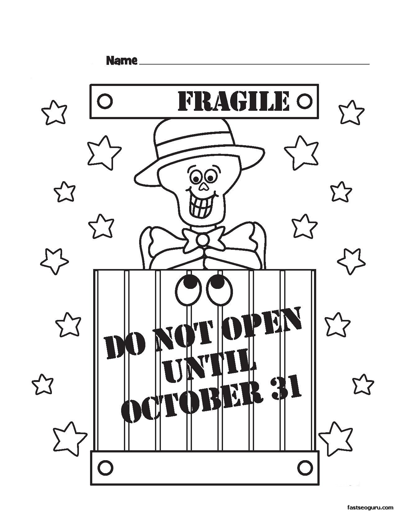 Halloween Fragile Printabel Coloring Pages