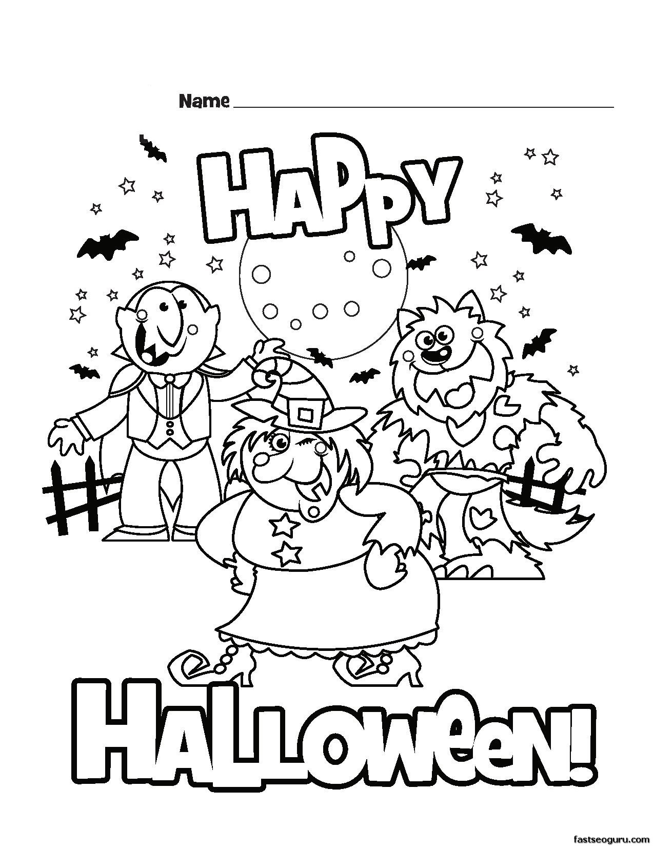 Printable Happy Halloween Coloring Pages