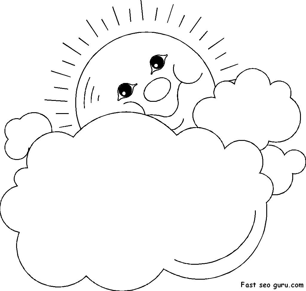 Prinable Sun And Clouds Frame Coloring Page