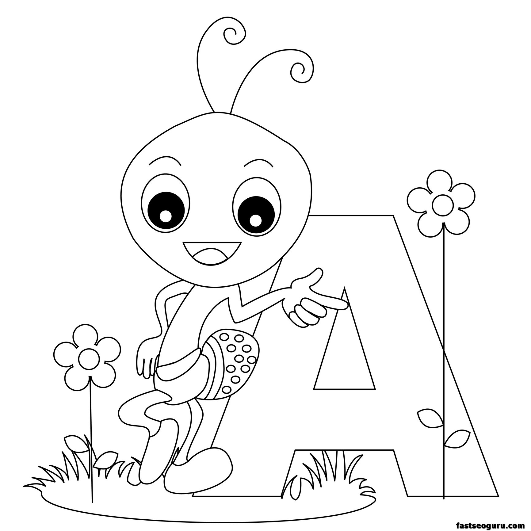 Printable Animal Alphabet Worksheets Letter A For Ant